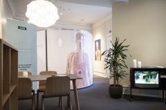 Sorg- og DR-lounge i udstillingen hos Landsforeningen Liv&Død